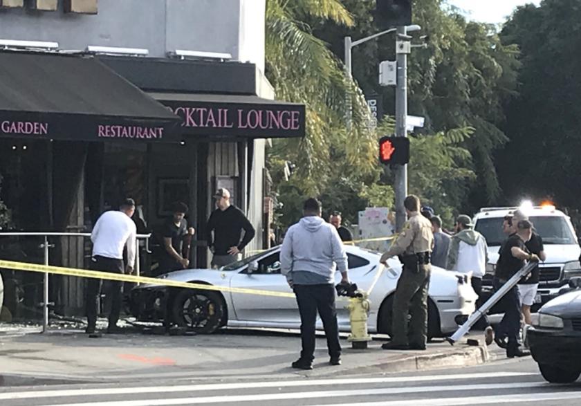 Ferrari that crashed into a restaurant