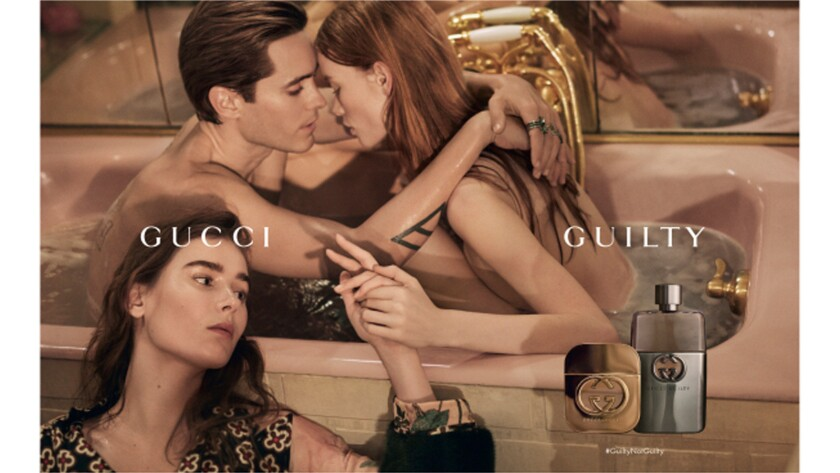 From left, Vera Van Erp, Jared Leto and Julia Hafstrom in the new Gucci Guilty ad campaign.