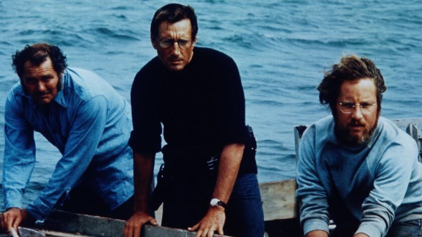 """Robert Shaw, left, Roy Scheider and Richard Dreyfuss in the movie """"Jaws."""""""
