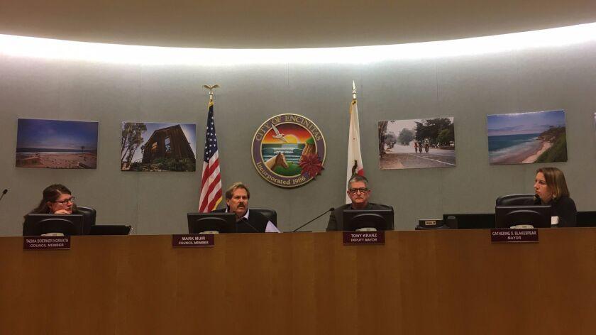 Encinitas City Council members — from left, Tasha Boerner Horvath, Mark Muir, Deputy Mayor Tony Kranz and Mayor Catherine Blakespear — at the Dec. 14 meeting.