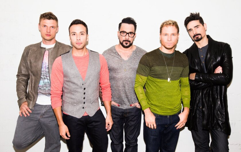 The members of the Backstreet Boys are, from left, Nick Carter, Howie Dorough, A.J. McLean, Brian Littrell and Kevin Richardson.