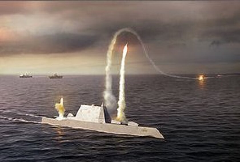 Artist's rendering of the DDG-1000 destroyer. The first two ships in the class might be stationed in San Diego.