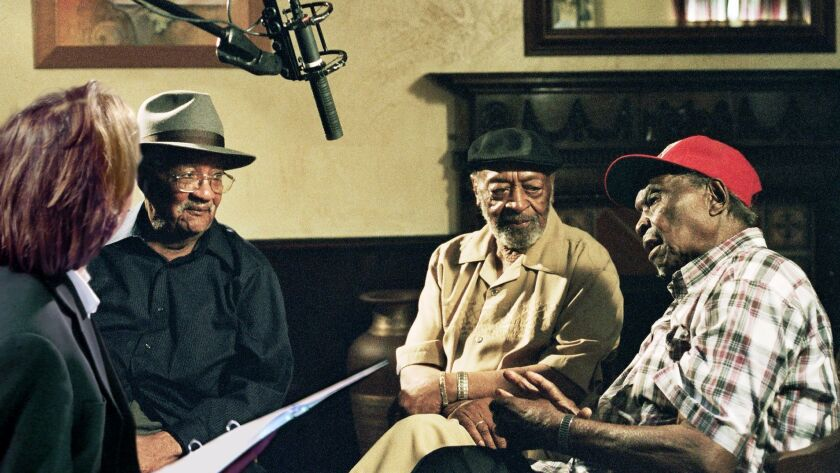 Director Bernard MacMahon, left, interviews veteran blues musicians Homesick James, Robert Lockwood Jr. and Honeyboy Edwards in 'American Epic,' a four-part documentary series premiering Tuesday on PBS.