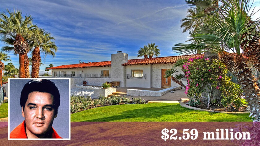 The onetime home of Elvis Presley in Palm Springs will be put up for auction Oct. 25. It is listed at $2.59 million and the starting bid has not yet been established.