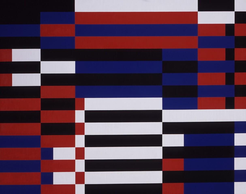 """Karl Benjamin, """"Bars #7,"""" ca. 1955. Oil on canvas."""