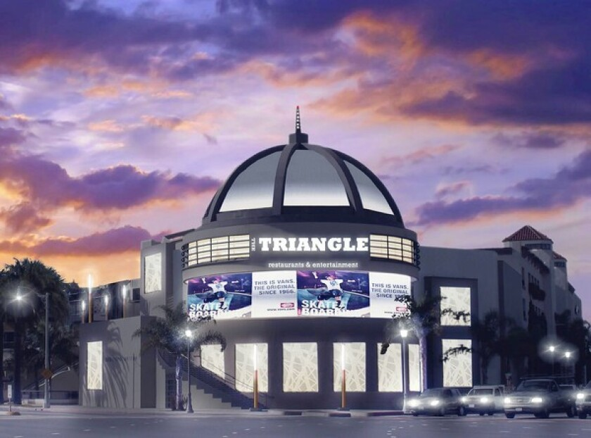 The owner of The Triangle, Greenlaw Partners, withdrew an attempt Tuesday to put offsite advertising at this 600-square-foot sign, pictured here in a rendering, and another 300-square-foot sign at the other end of the shopping center.