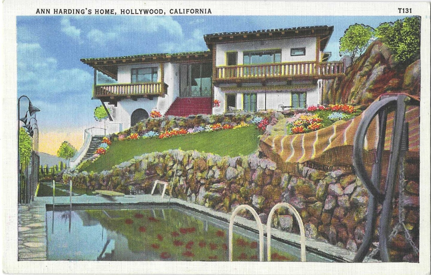 Vintage postcard shows the pool, grounds and home of Hollywood star Ann Harding