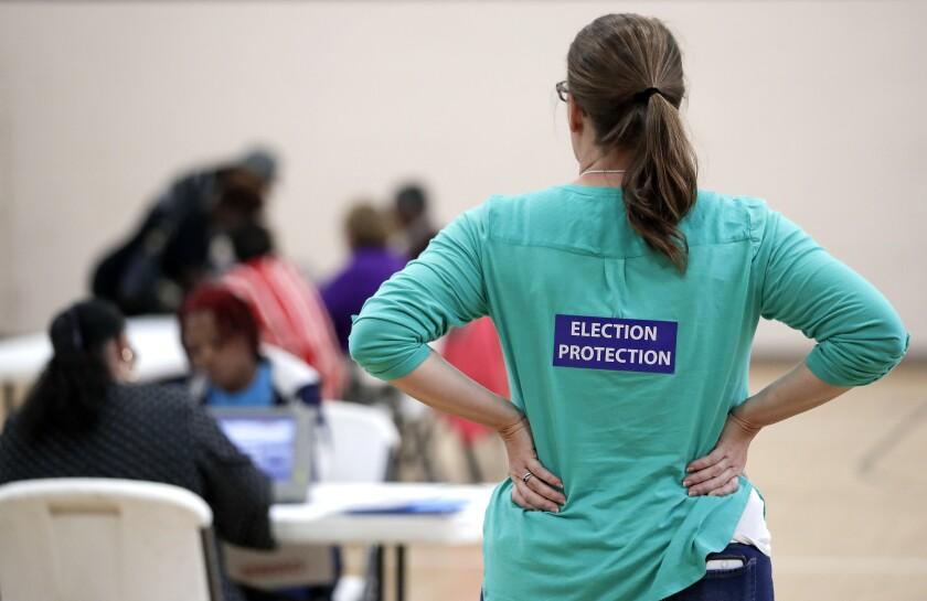 Poll watcher Jane Grimes Meneely