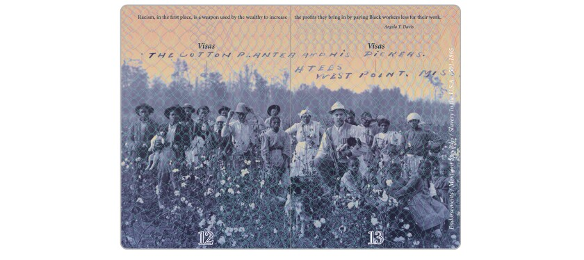 "Pilar Castillo incorporated this photo of a cotton planter and his pickers in her ""Passport."""