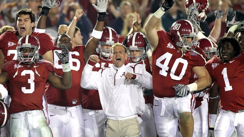 Trevor Moawad celebrates among Alabama players during a victory over Texas in the BCS national title game Jan. 7, 2010, at the Rose Bowl.