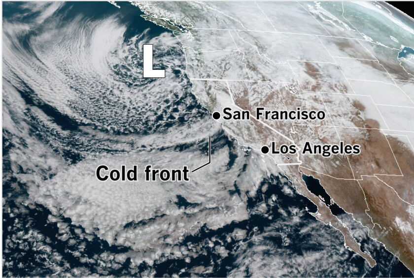 Map showing low system off the coast of California
