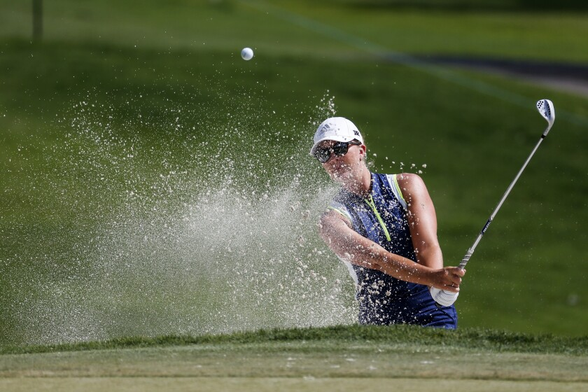 Linnea Storm, of Sweden, hits out of a bunker on the 11th hole during the first round of the ANA Inspiration golf tournament at Mission Hills Country Club in Rancho Mirage, Calif. Thursday, Sept. 10, 2020. (AP Photo/Ringo H.W. Chiu)