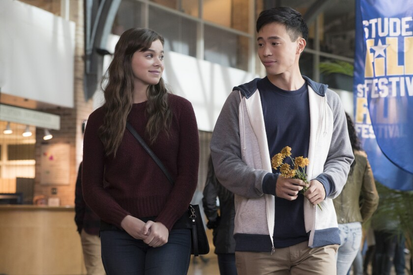 """Hailee Steinfeld and Hayden Szeto in a scene from """"The Edge of Seventeen."""""""