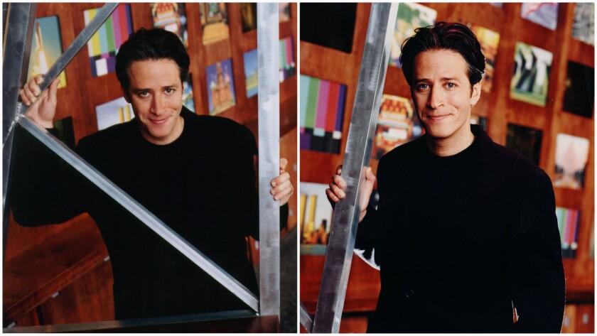 Jon Stewart dresses in black, and his comic hero is Woody Allen.
