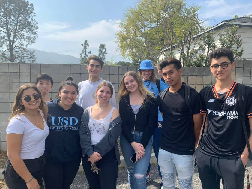 A trip to Japan, consisting of 31 Crescenta Valley High School students, was canceled as a coronavirus precaution. Left to right, Crescenta Valley High students Nicole Cassin, Bryce Park, Kylie Cook, Aidan Tsaparian, Sofia Camperos, Riley Welsh, Maxfield Mesnik, Mhrxton Jon Noble and Alek Postik.