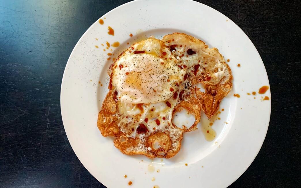 Fried crackly egg
