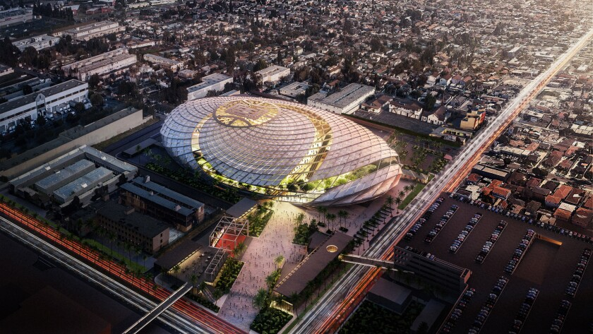 An aerial view rendering of the Clippers' proposed arena in Inglewood.