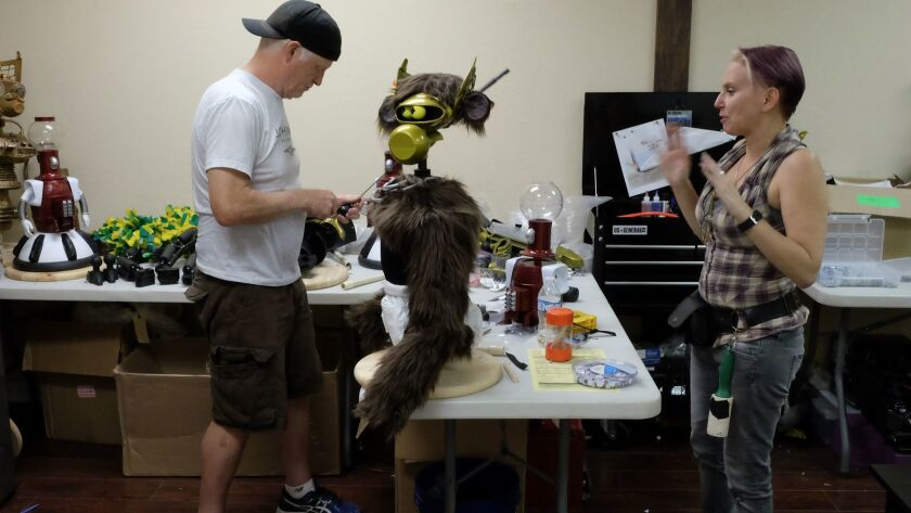 Tim Blaney, left, puppeteer for Gypsy and Beez McKeever, the puppet costume designer for 'MST3K'