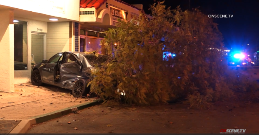 A woman was killed in a crash early Sunday when her car left the road and struck a parked car and a tree in Lemon Grove.