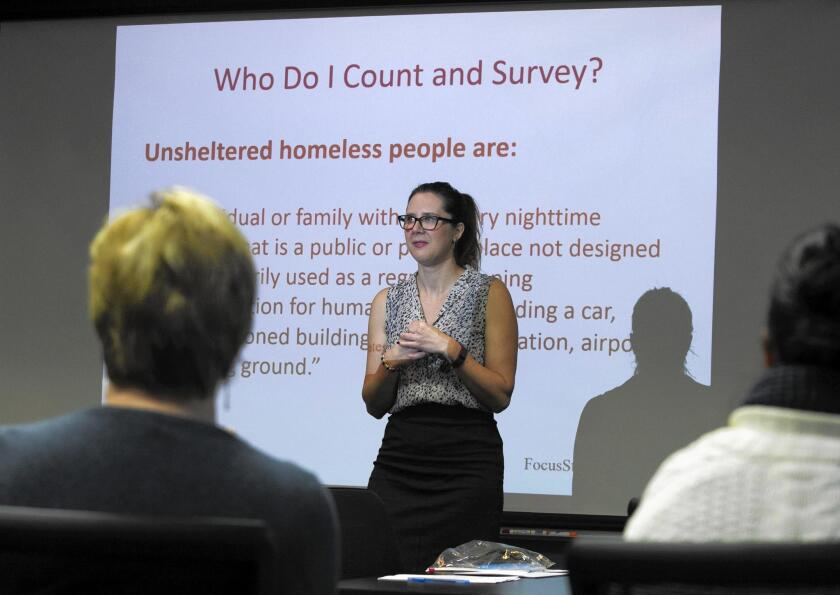 Becks Heyhoe, housing and income program manager at Orange County United Way, trains volunteers for Saturday's Point-in-Time Count & Survey to collect data on the county's homeless population.