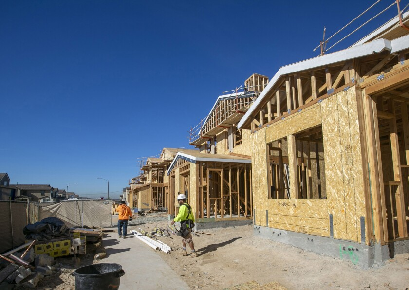New single family homes under construction in the Seville project in Chula Vista on Friday, January 31, 2020.