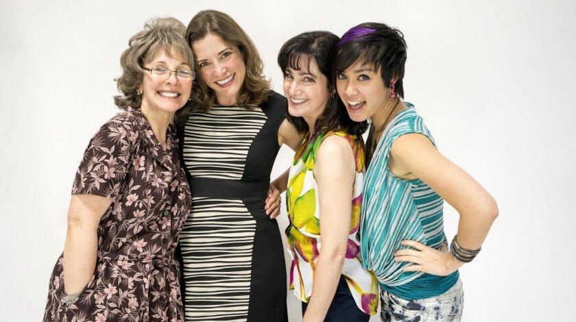 "From Left: Susan Denaker, Paige Lindsey White, Sandy Campbell and Jenn Paredes in ""Rapture, Blister, Burn"" at San Diego Rep."