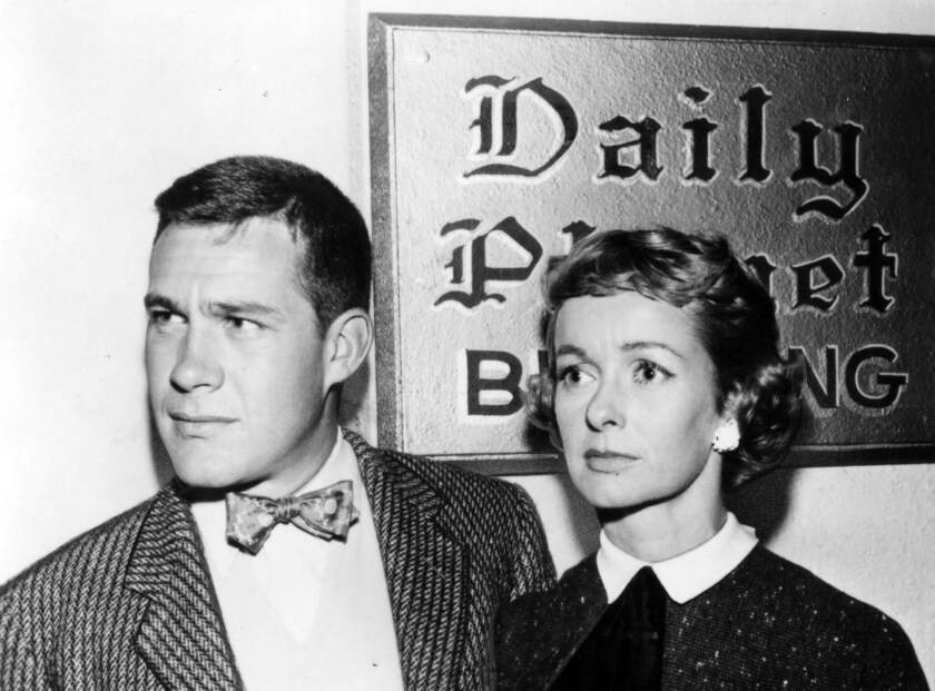 """Jack Larson as Jimmy Olsen with Noel Neill, who played Lois Lane, in """"The Adventures of Superman."""""""