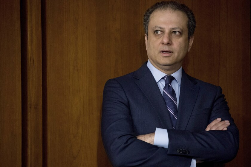 "FILE - In this June 8, 2017, file photo, former United States Attorney for the Southern District of New York Preet Bharara arrives before former FBI director James Comey testifies at a Senate Intelligence Committee hearing on Capitol Hill in Washington. Bharara had a snickering response to news that his successor as top federal prosecutor was ""stepping down"" from the job. ""Doesn't sound like 'stepping down,'"" Bharara tweeted soon after the announcement was made Friday, June 19, 2020, that Geoffrey S. Berman was out. (AP Photo/Andrew Harnik, File)"