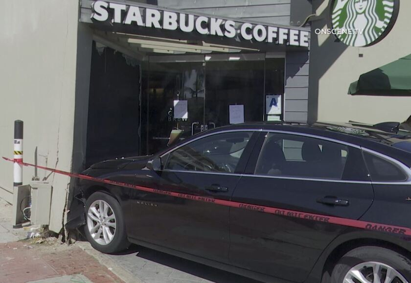 A car crashed into a Starbucks on Prospect Street in La Jolla on Wednesday afternoon. No one was injured.