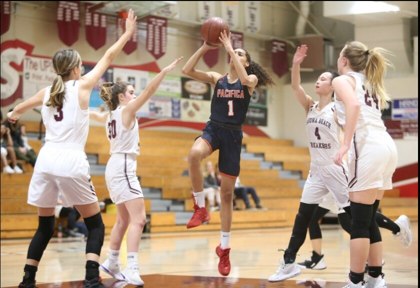 Pacifica Christian Orange County's Charis Wondercheck takes a running jumper in a nonleague game in December 2019.