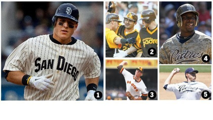 1. Anthony Rizzo wearing the 1936 retro uniform. 2. Adrian Gonzalez celebrates with Ryan Ludwick and Chase Headley in 1978 mustard and brown. 3. Mat Latos dons the NL Champion uniform of 1984. 4. Orlando Hudson in Sunday camouflage. 5. Tim Stauffer dons home whites.