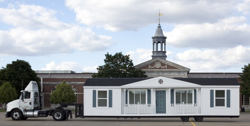 """Mike Kelley's """"Mobile Homestead"""" will be on view at MOCA's Geffen Contemporary through June 28. Pictured above: Mike Kelley, production still, """"The Mobile Homestead in front of the Henry Ford Museum, Dearborn, Michigan,"""" 2010."""