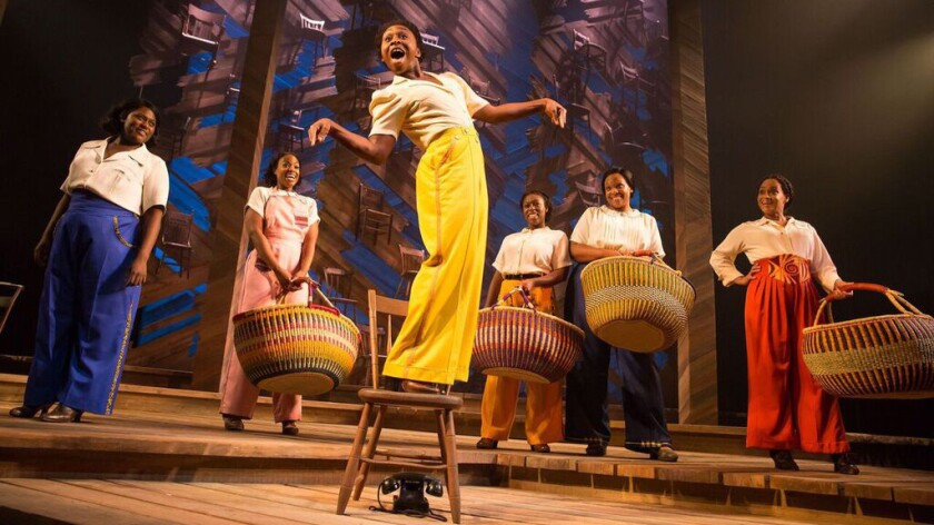 """Cynthia Erivo, on the chair, leads """"The Color Purple"""" cast, including, from left, Danielle Brooks, Patrice Covington, Bre Jackson, Carrie Compere and Rema Webb."""