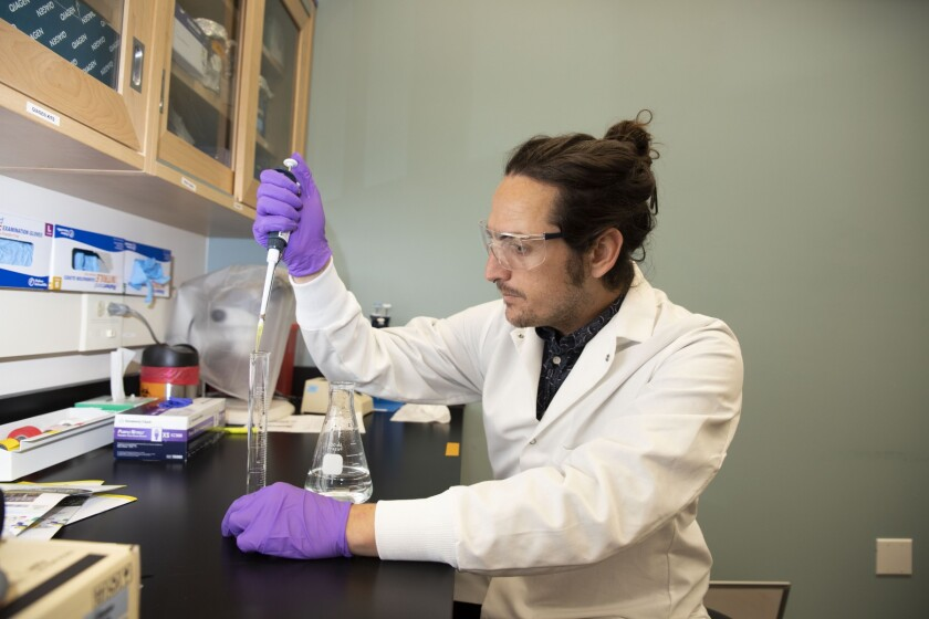 Jeff Jaureguy, 30, a senior in the biological sciences program at Cal State San Marcos, has been awarded California State University's 2019 Trustees Award for Outstanding Achievement.