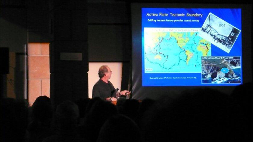 Oceanographer Reinhard Flick discusses planet temperature during a presentation at Birch Aquarium at Scripps Institution of Oceanography, Sept. 14.