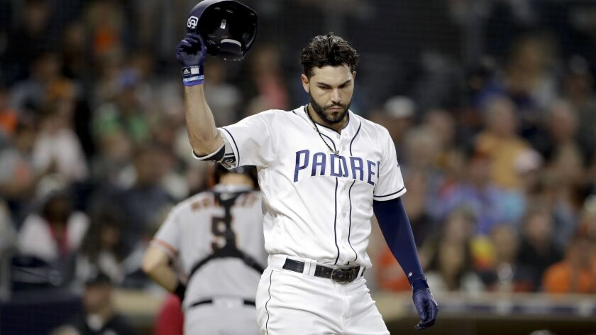 The Padres' Eric Hosmer reacts after striking out during the second inning of a baseball game against the San Francisco Giants Tuesday, Sept. 18, 2018, in San Diego.