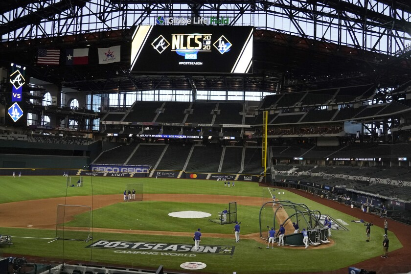 The Los Angeles Dodgers work out in Globe Life Field before the National League Championship Series against the Atlanta Braves in Arlington, Texas, Sunday, Oct 11, 2020. The series begins Monday, Oct. 12. (AP Photo/Sue Ogrocki)