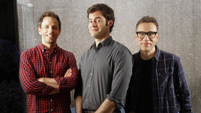 """Seth Meyers, left, Bill Hader and Fred Armisen came up with the new IFC series """"Documentary Now!"""" after an """"SNL"""" show."""