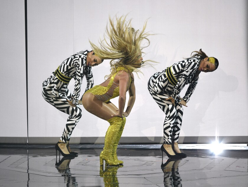 Britney Spears performing at the MTV VMAs.