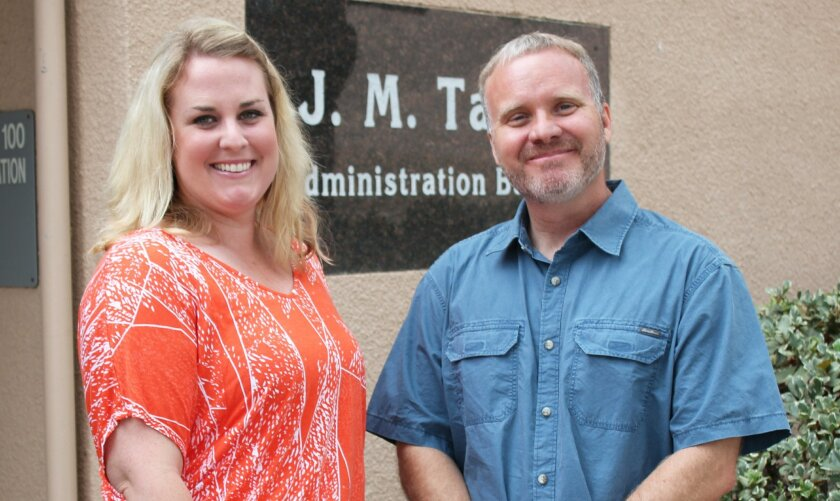 La Jolla High School's new vice-principal, Cindy Ueckert, is greeted by principal Chuck Podhorsky at the school July 1, just days after she was hired.