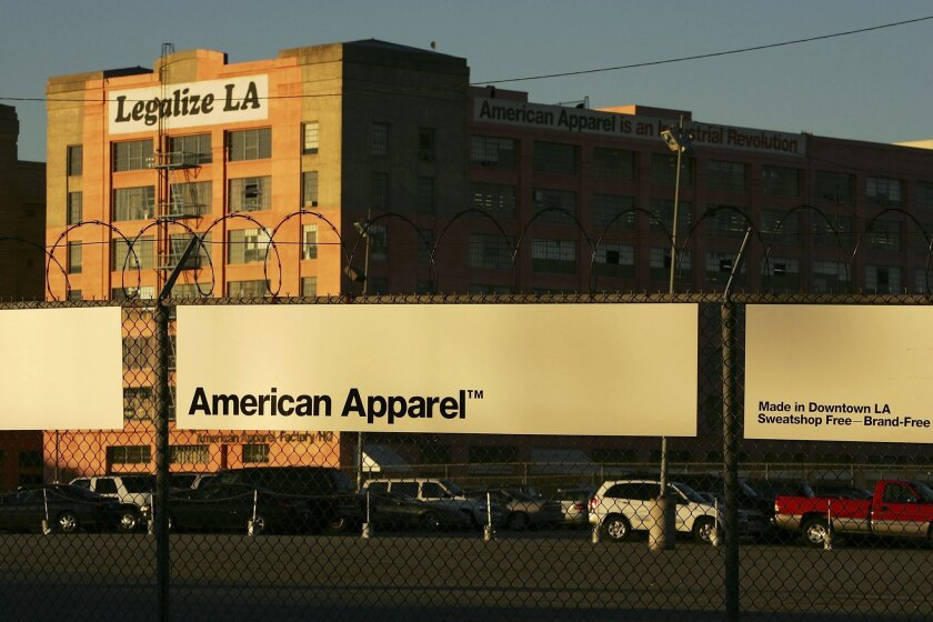 American Apparel, which has filed for bankruptcy, predicted that its fortunes would improve in three years. Above, the company's factory in Los Angeles.