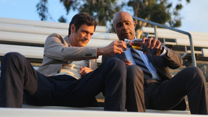 "David Lee Smith, left, and Michael Dorn in the movie ""The Man From Earth: Holocene."""
