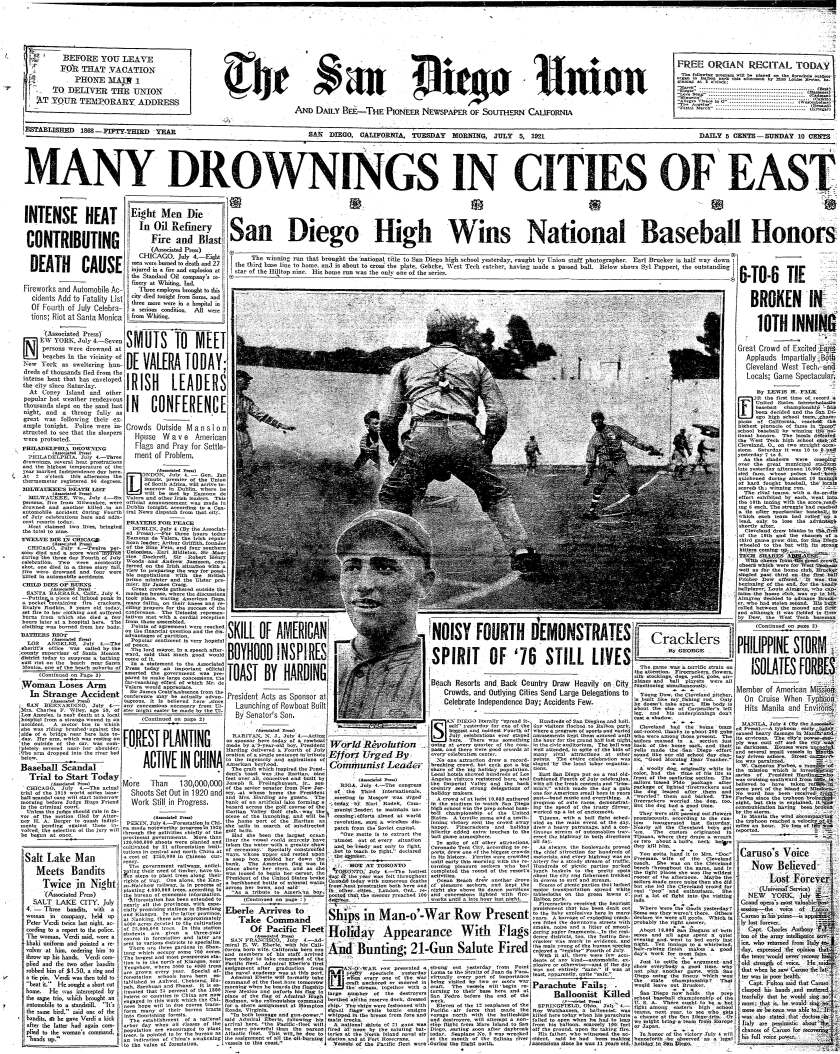 Front page of The San Diego Union-Tribune July, 5, 1921.