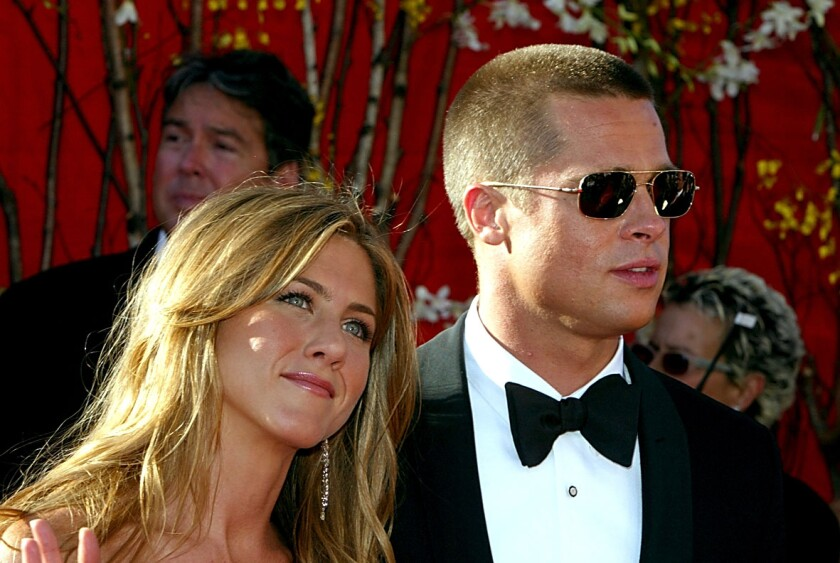 Jennifer Aniston and Brad Pitt at the 2004 Emmys