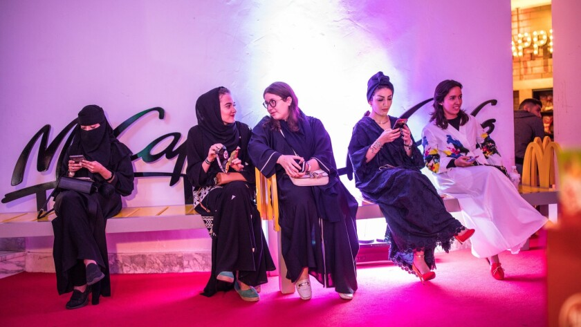 Women wait for the show at Al Comedy Club in Jidda, Saudi Arabia.