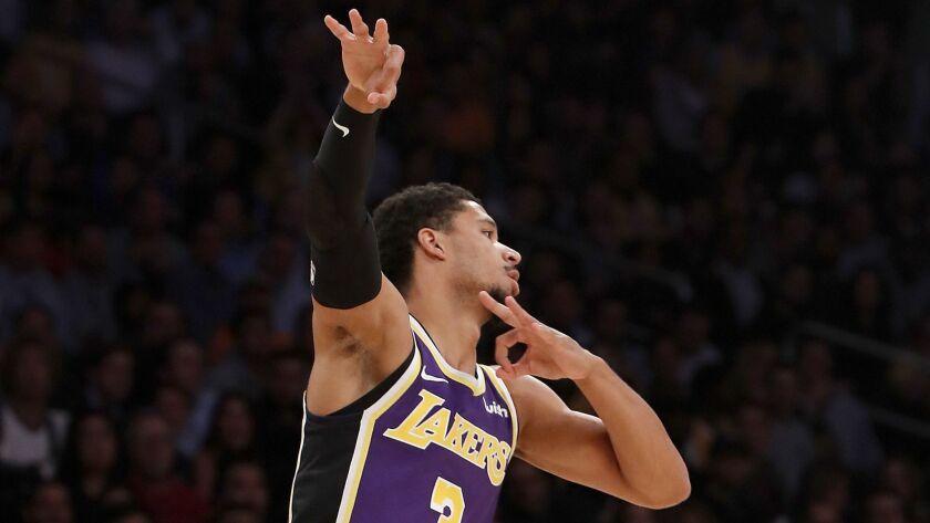 LOS ANGELES, CALIF. .. - NOV. 7, 2018. Lakers guard Josh Hart celebrates a three-point shot against