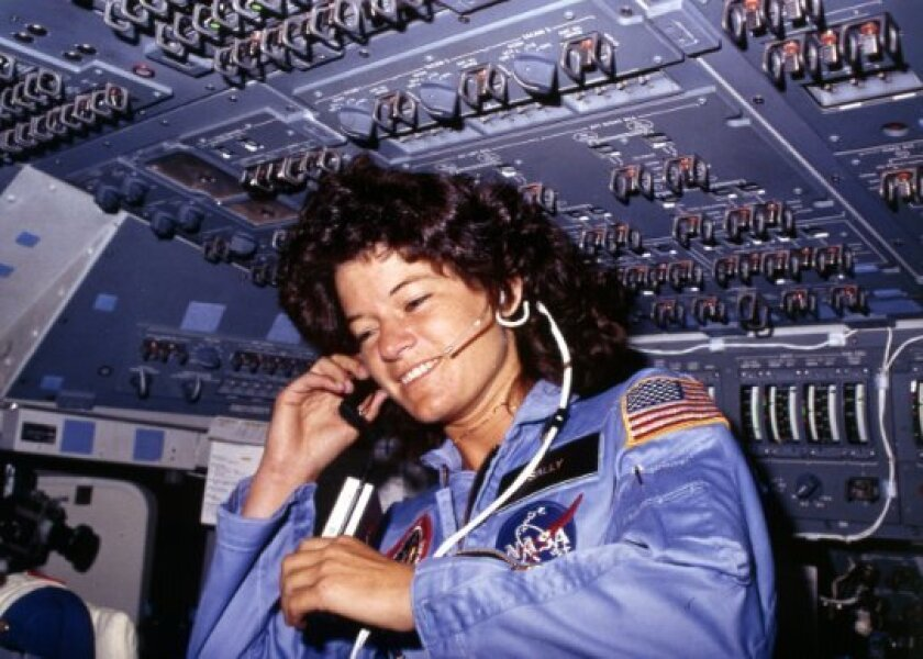 Sally Ride flew aboard space shuttle Challenger in 1983.