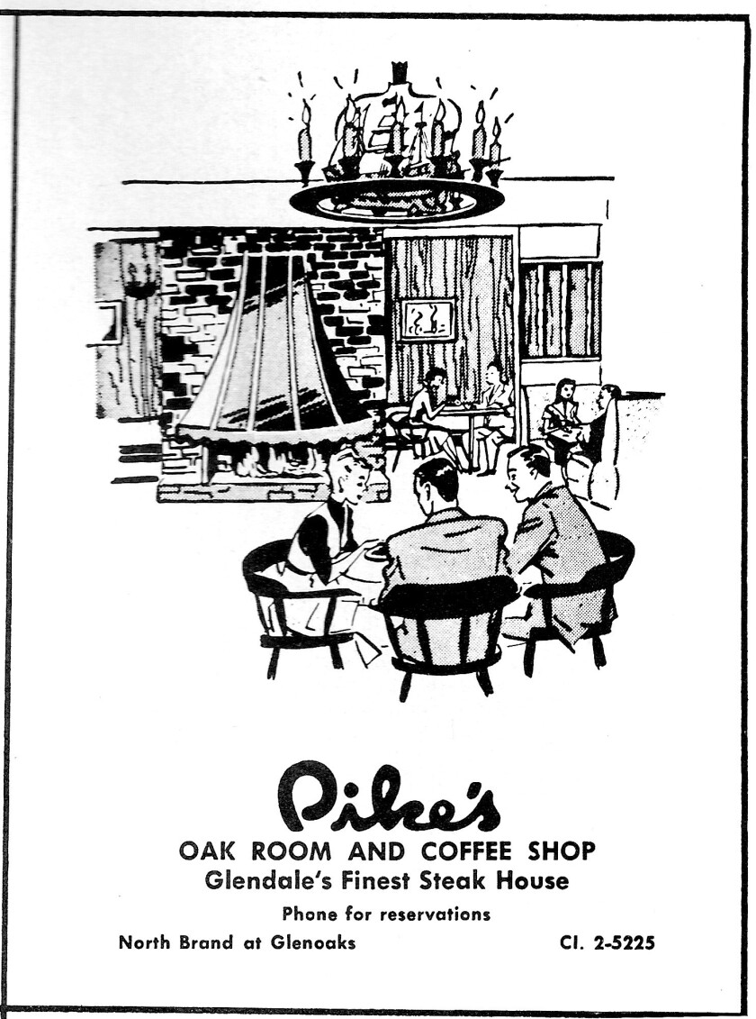 In 1956, an advertisement for Pike's Oak Room and Coffee Shop was placed in the Oakmont League's 'Lights Up' brochure. The Oak Room featured oak paneled walls, copper and brass accessories, captain's chairs and cozy booths.