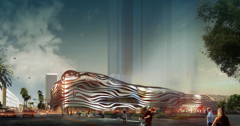 Shown is a rendering of a new design proposed for the Petersen Automotive Museum in Los Angeles. The design is part of a plan to remodel the museum and update its exhibits.