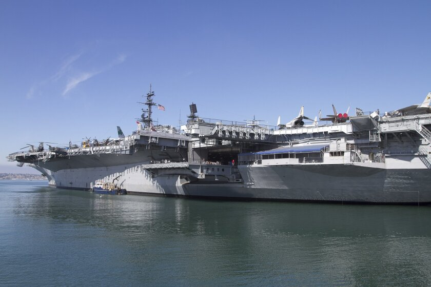 The USS Midway, commissioned in 1945, is berthed at 910 N. Harbor Drive, where it began its role as a floating museum in 2004.  Scott Allison • U-T file